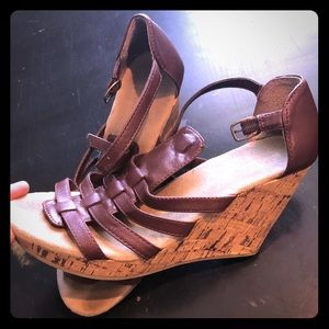 Strap Wedges Brown Old Navy Size 8.5
